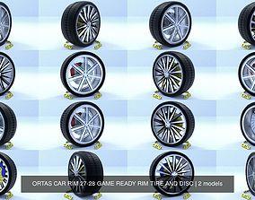 ORTAS CAR RIM 27-28 GAME READY RIM TIRE AND DISC 3D
