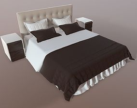 furniture 3D Double bed with nightstands