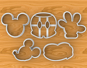 Mickey Mouse Cookie Cutter Set Head Hand Shoe and 3D model
