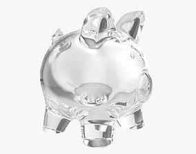 Piggy glass money bank 3D model