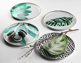 Botanical Plate Set with Macarons and Plants 3D