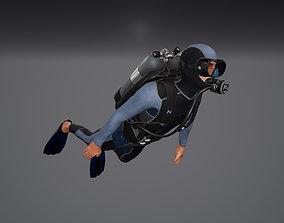 Diver modular character 3D asset