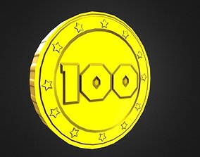 Game-Ready 100 Points Gold Coin Aseet 3D asset