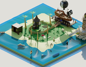 Lonely island 3D model