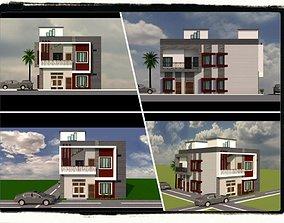 3D asset Modern House Elevation