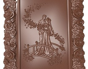Newlyweds Just married bas relief for CNC 3D print model