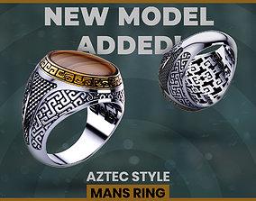 3D printable model aztec style mans ring