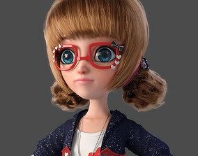 Cartoon Girl NoRig 3D model woman