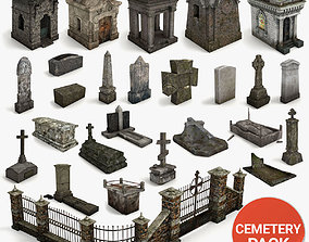 3D model Lowpoly Cemetery Pack