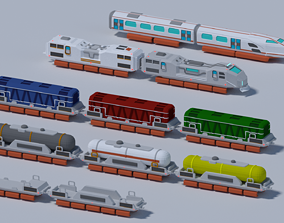 Maglev train low-poly 3D model animated