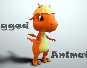 3D asset Cartoon baby dragon