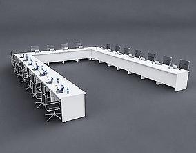 Modular Meeting table 02 3D asset