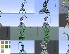 3D model Realistic industrial port cranes pack - 4 2