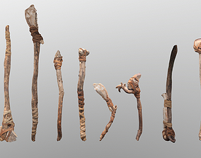 Primitive Axe -Bone and stone Collection 3D model