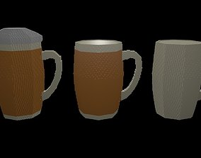 Beer mugs voxel 2 3D