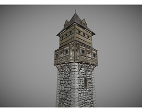 low poly middle ages tower 2 3D model
