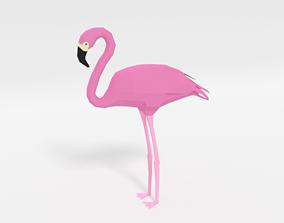 3D asset Low Poly Cartoon Flamingo