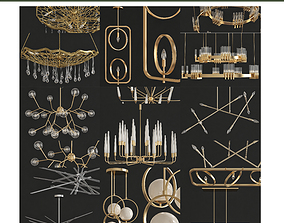 Chandeliers 3d models Collection 10 pieces low-poly