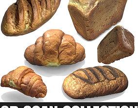 low-poly 3d scans collection flour bread 3D
