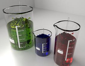 150ml 250ml and 800ml Glass Beaker with Liquid 3D model 1