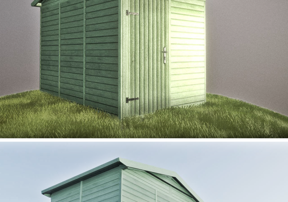 Green Garden Shed (Low-Poly Version)
