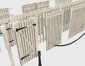 3D asset Collection of Low Poly PBR Modular Fences