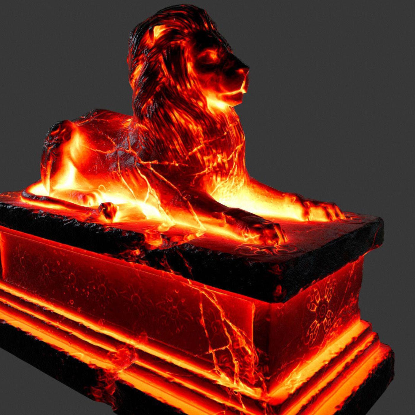 lava lion statue