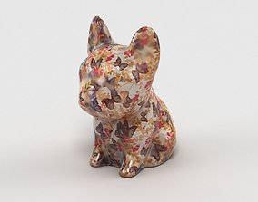 3D asset game-ready French Bulldog Statue