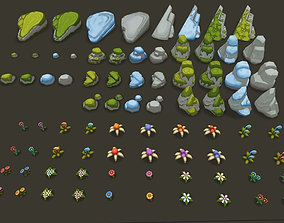 Painted Stones and Plants 3D asset
