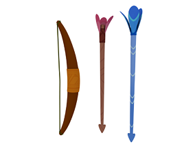 3D rigged Bow and arrow