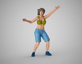 3D print model Girl Plays Street Basketball 2