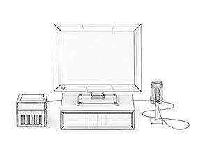 Cash Register with Scanner and Printer 3D