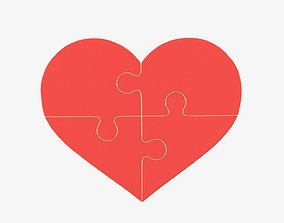 Jigsaw puzzle heart shaped 01 3D