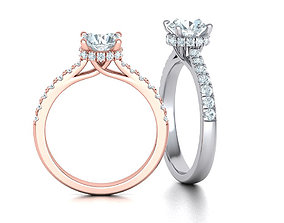 Diamond Trellis Engagement ring 1ct Round Stone 3dmodel