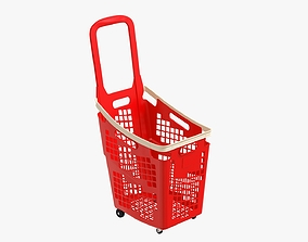 supermarket basket trolley plastik red 3D