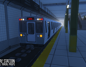 3D asset Subway station - train and props