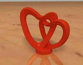 3D print model 2 Hearts Decoration