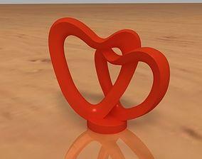 2 Hearts Decoration 3D printable model