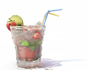 Strawberry Mojito Cocktail 3D asset