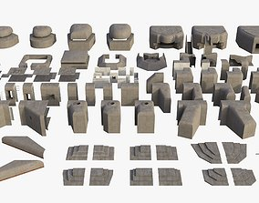 3D model game-ready Modular Bunker WWII