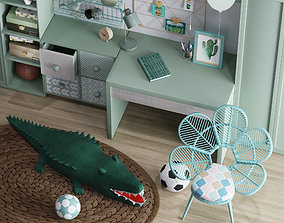 Realistic Study Desk Furniture for kid- interior 3D 1