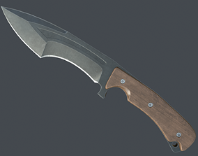 Hunting knife 3D asset game-ready