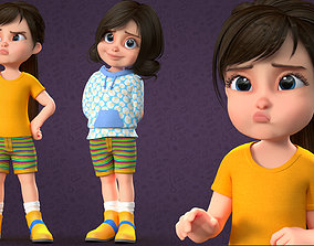 CARTOON CUTE GIRL - RIGGED 3D asset