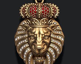 3D print model Lion pendant with diamonds and opened