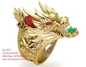 2075 Gold Dragon Ring New Design November 3D print model