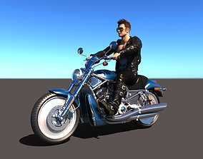 3D Rigged Rider with Motorbike Model