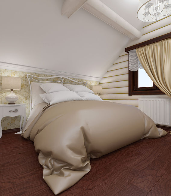 Bedroom interior in a wooden cottage, a suburb of Moscow