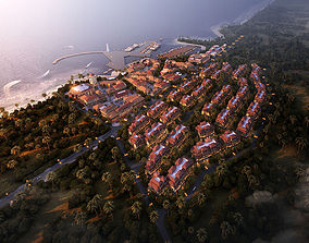 3D Island villa buildings