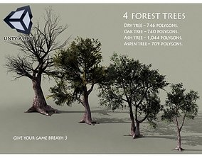 4 Forest Trees 3D asset