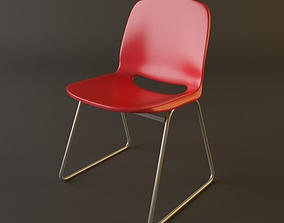 3D Red Plastic Armless Chair Stackable